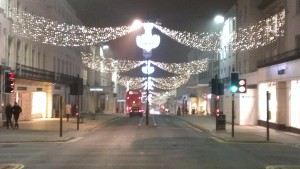 The main shopping street in Leamington, dressed up for Chistmas