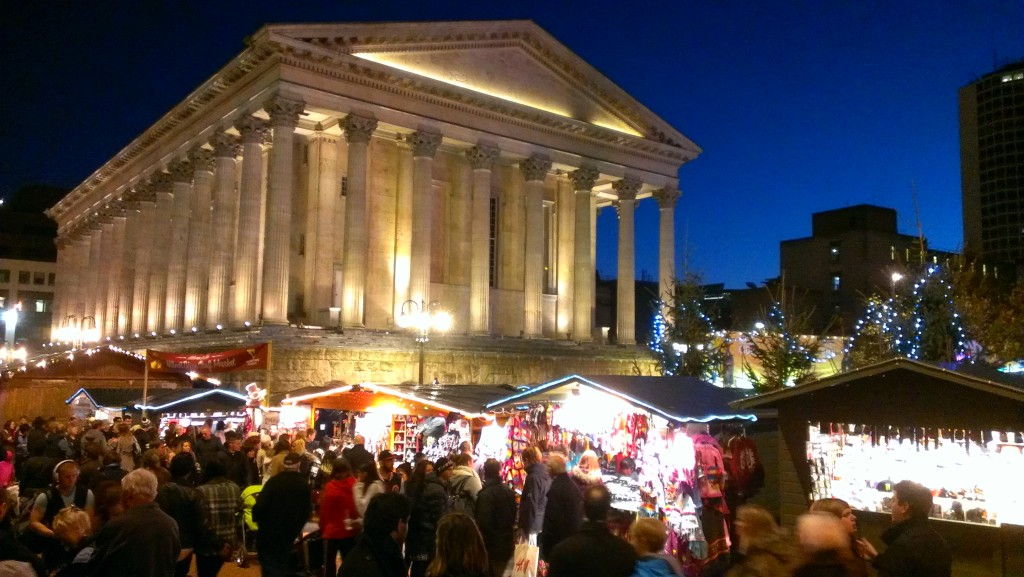 Birmingham City Hall, at night (well.....5pm on a November afternoon.) The Frankfurt Christmas market, in the foreground, was in full swing.